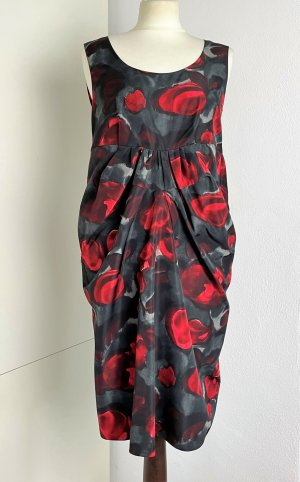 * MARNI * luftiges EUTI KLEID anthazit grau rot Rosen Gr It. 40 / D ca 34