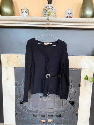 Marni Pull col en V noir-argenté coton
