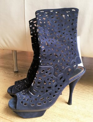 Marni Cut Out Booties dark blue suede