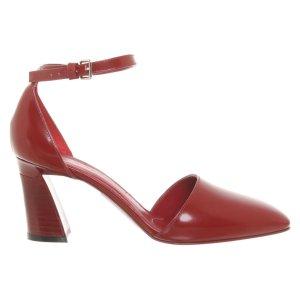 Marni Pumps/ Peeptoes aus Leder in Rot/ Ziegelrot, Größe 38