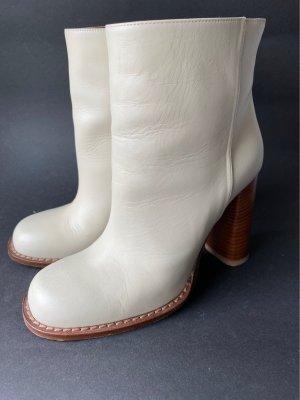 Marni Botas deslizantes blanco puro-marrón Cuero