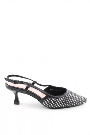 Slingback Pumps black-white check pattern casual look