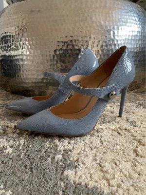 Zara Escarpins Mary Jane bleu azur