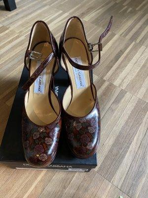 Dolce & Gabbana Escarpins Mary Jane bordeau-brun noir cuir