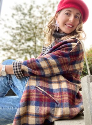 Maryley Damen Herbst /Frühling Mantel Karo M