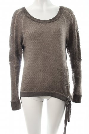 Maryley Longsleeve grau Materialmix-Look