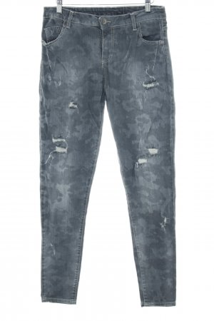 Maryley Slim Jeans grau Camouflagemuster Casual-Look