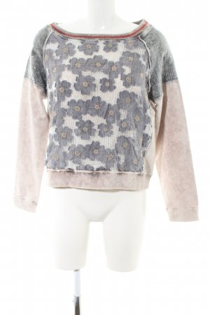 Maryley Sweatshirt nude-hellgrau Blumenmuster Casual-Look