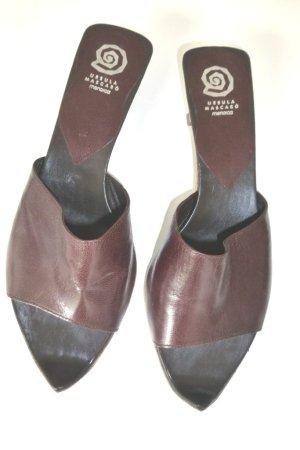 Mascaró Sandalo con tacco marrone scuro-sabbia Pelle