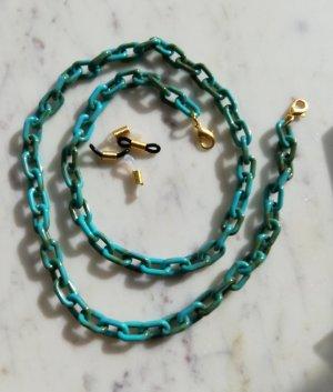 Maskenkette Brillenkette Gliederkette türkis grün khaki Marble Look