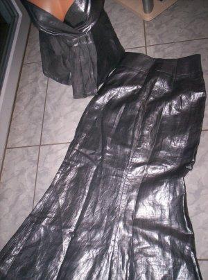 MAß-Model,  zweitlg. Abendkleid, silber-metallic, langer Rock+Träger-Top, Gr. 38
