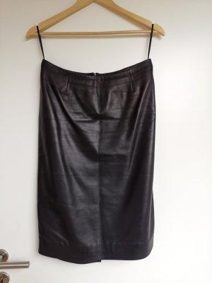 Maßangefertiger Lederrock Taillenrock schwarz Glattleder ca. Gr. 38