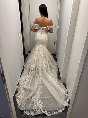 / Suknia ślubna biały-nude