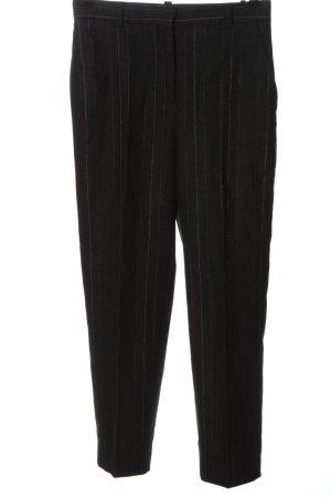 Massimo Dutti Pantalon 7/8 noir motif rayé style décontracté