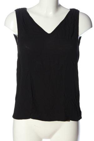 Massimo Dutti ärmellose Bluse schwarz Casual-Look