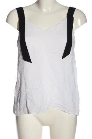 Massimo Dutti ärmellose Bluse weiß-schwarz Casual-Look