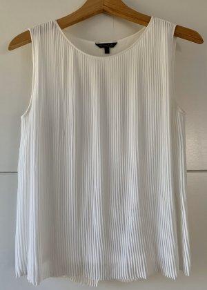 Massimo Dutti ärmellose Bluse mit Falten, Elegant, weiß