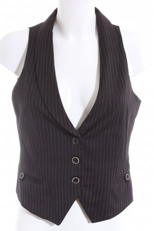 Massimo Dutti Anzugweste schwarz Streifenmuster Business-Look