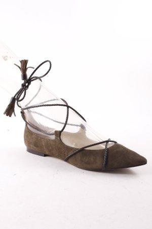 Massimo Dutti Ballerinas mit Spitze olivgrün-dunkelbraun Casual-Look