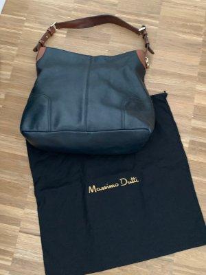 Massimo Dutti Beuteltasche, Echtes Leder dunkelblau mit Naturlederriemen