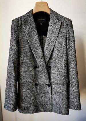 Massimo Dutti Klassischer Blazer white-black wool