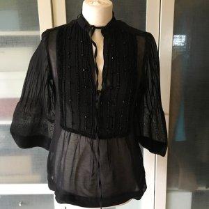 Massimo Dutti Bluzka tunika czarny Bawełna