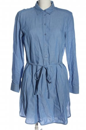 Massimo Dutti Blusenkleid blau-weiß Allover-Druck Casual-Look