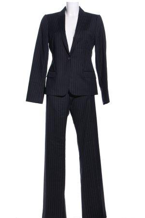 Massimo Dutti Traje de negocios negro-gris claro estampado a rayas