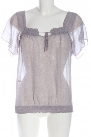 Massimo Dutti Blouse Carmen rose-blanc imprimé allover style classique