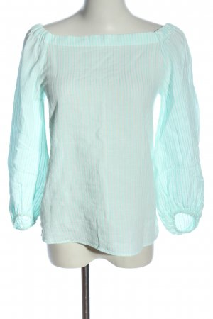 Massimo Dutti Slip-over Blouse turquoise-white striped pattern casual look