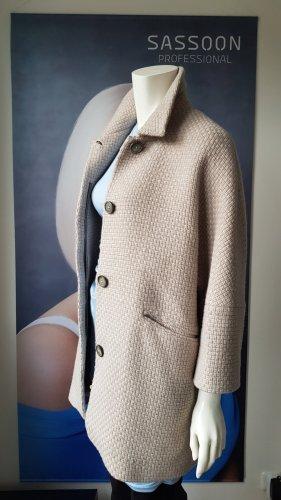 Massimo Dutti Wełniany płaszcz w kolorze białej wełny-jasnobeżowy Kaszmir