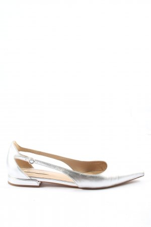Massimo Dutti Składane baleriny srebrny W stylu casual