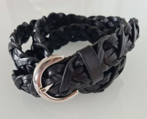 Massimo Dutti Cinturón trenzado negro-color plata