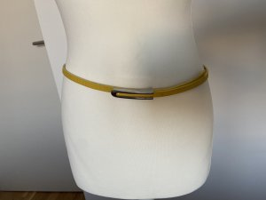 Massimo Dutti Cinturón de cuero amarillo