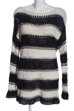 Massimo Dutti Pull en crochet blanc-noir imprimé allover style décontracté