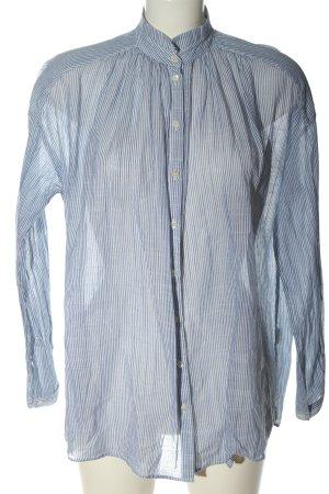 Massimo Dutti Hemd-Bluse blau-weiß Streifenmuster Casual-Look