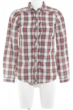 Massimo Dutti Hemd-Bluse creme-rostrot Karomuster Casual-Look
