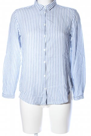 Massimo Dutti Hemd-Bluse weiß-blau Streifenmuster Business-Look