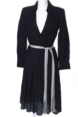 Massimo Dutti Vestido tipo blusón negro-color plata estampado a rayas elegante