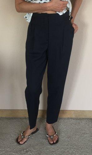 Massimo Dutti Pantalón de cintura alta azul oscuro Algodón