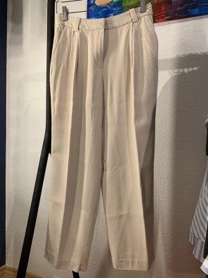 Massimo Dutti Spodnie z zakładkami jasnobeżowy Wiskoza