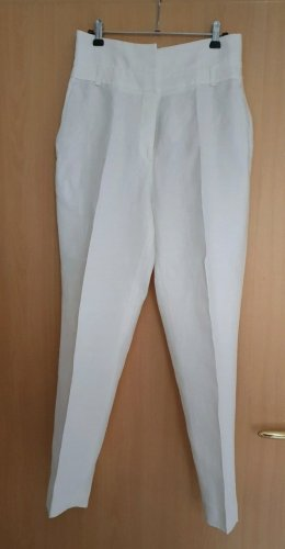 Massimo Dutti Pantalon en lin blanc