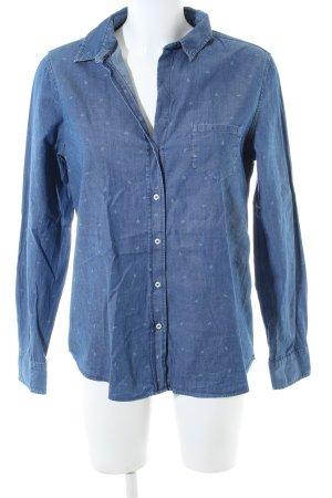 Massimo Dutti Jeansbluse blau abstraktes Muster Casual-Look
