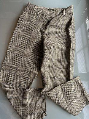 Massimo Dutti karierte Hose Leinenhose Hose beige schwarz blau