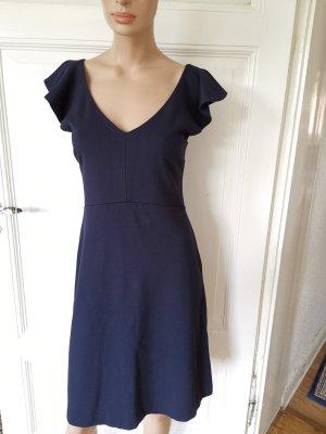 Massimo Dutti Kleid Jerseykleid tailliert kurzärmlig Volants dunkelblau Gr. S