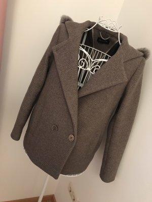 Massimo Dutti Short Coat grey brown wool