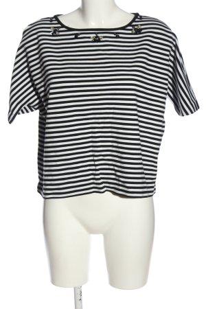 Massimo Dutti Kurzarm-Bluse schwarz-weiß Streifenmuster Casual-Look