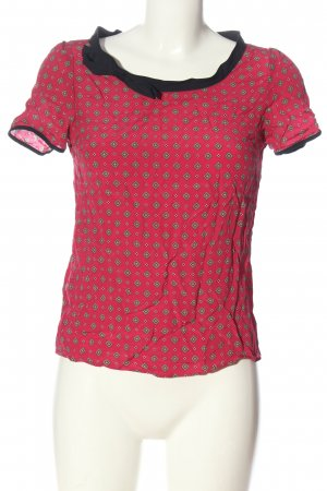 Massimo Dutti Kurzarm-Bluse pink-schwarz abstraktes Muster Casual-Look