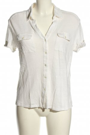 Massimo Dutti Kurzarm-Bluse weiß Casual-Look