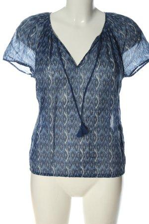 Massimo Dutti Kurzarm-Bluse blau-weiß Allover-Druck Casual-Look